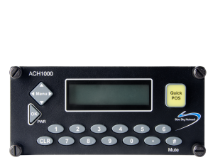 a black device with a screen and telephone buttons 1-9 along with a yellow quick position button