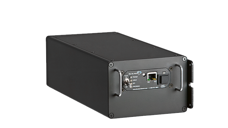 gray rectangular satellite modem with ethernet port on the front